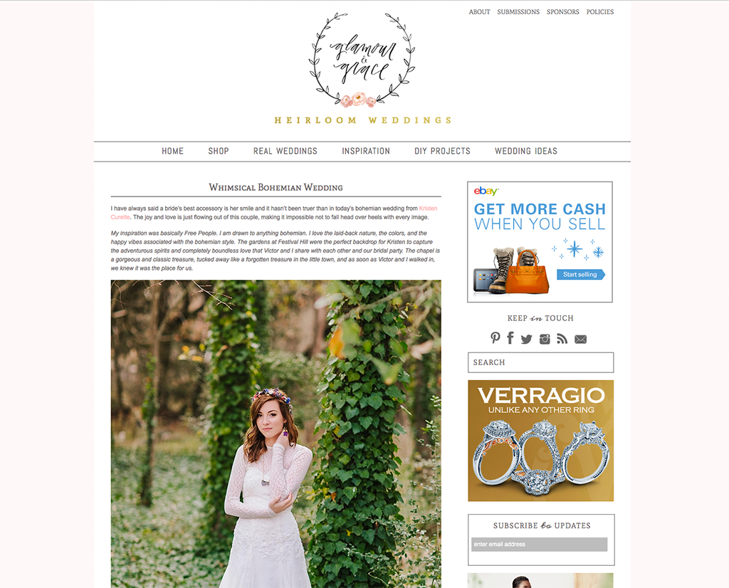 featured wedding on the wedding blog glamour and grace heirloom weddings