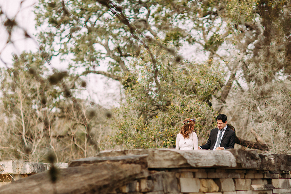 emotional bride and groom at a wedding in round top texas