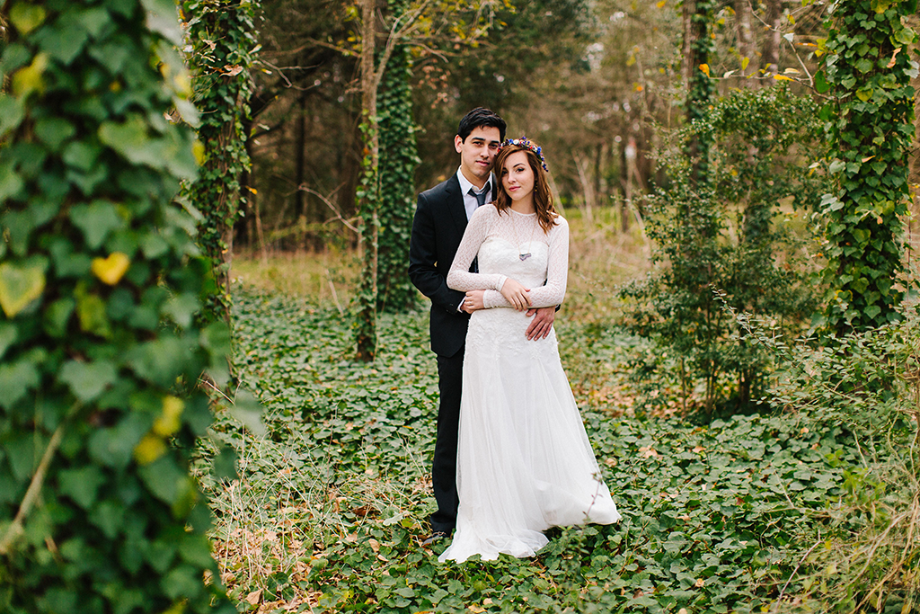 portraits of a bohemian whimsical bride and groom on wedding day in Round Top Texas