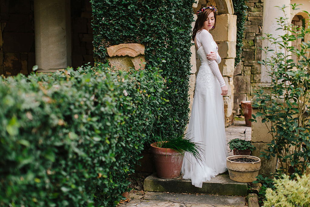 portraits of a bohemian whimsical bride wedding day in Round Top Texas Hill Country Wedding