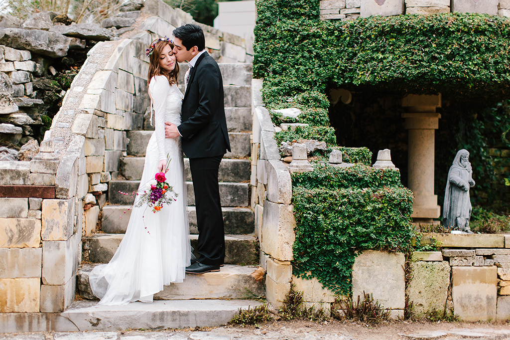 portraits of a bohemian whimsical bride and groom on wedding day in Round Top Texas Hill Country Wedding