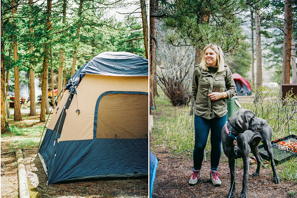 a camping tent and woman with her great dane in Rocky Mountain State Park
