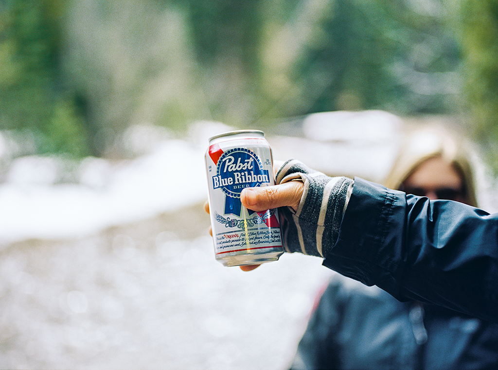Drinking beer Pabst Blue Ribbon in the great outdoors in Colorado