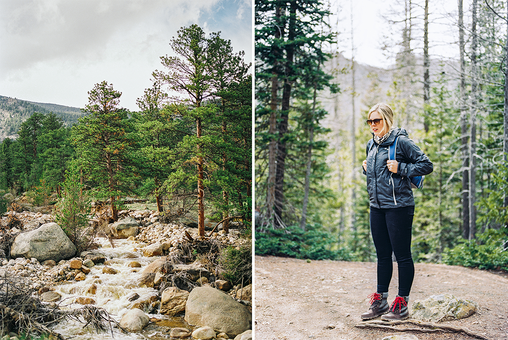 couples wedding adventurous engagement session in Rocky Mountain State Park in Colorado