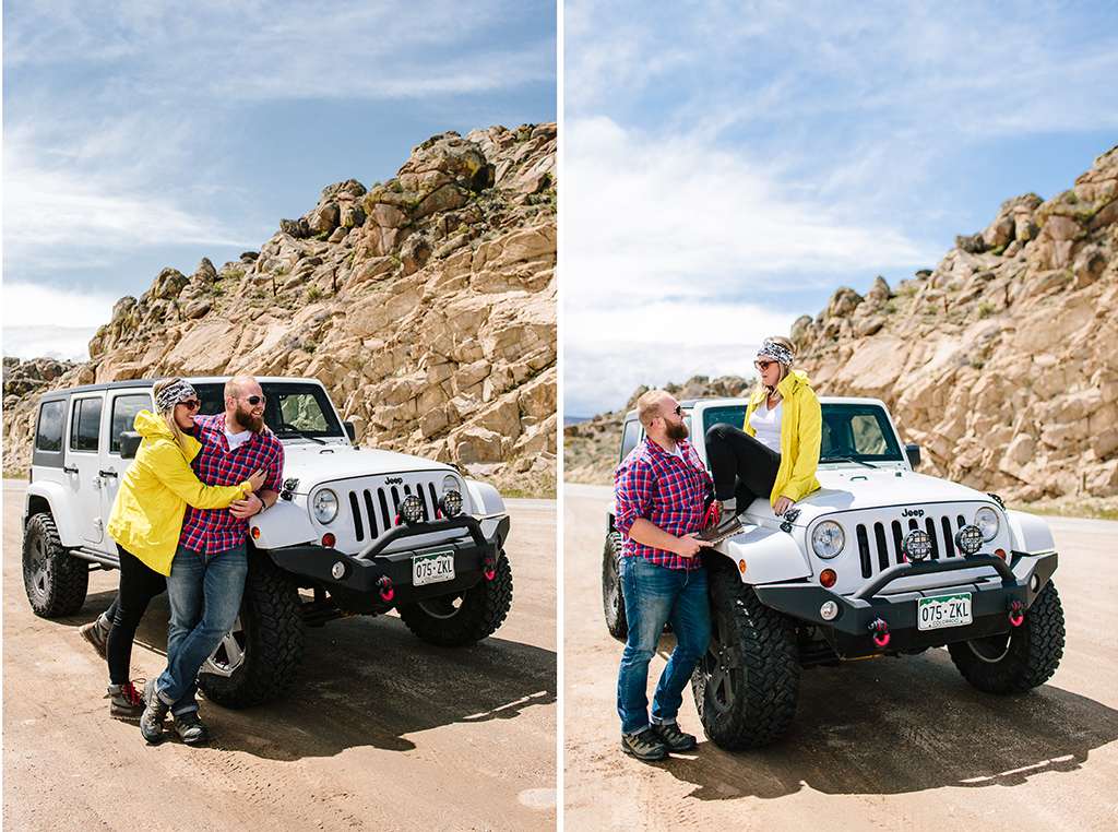 engagement session in Denver Colorado with a white jeep
