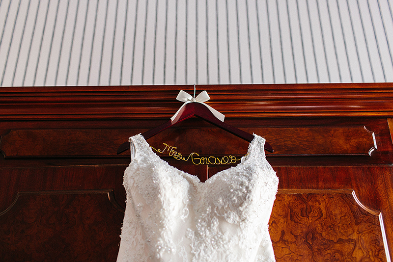 Wedding dress hanging in the Tremont House Hotel