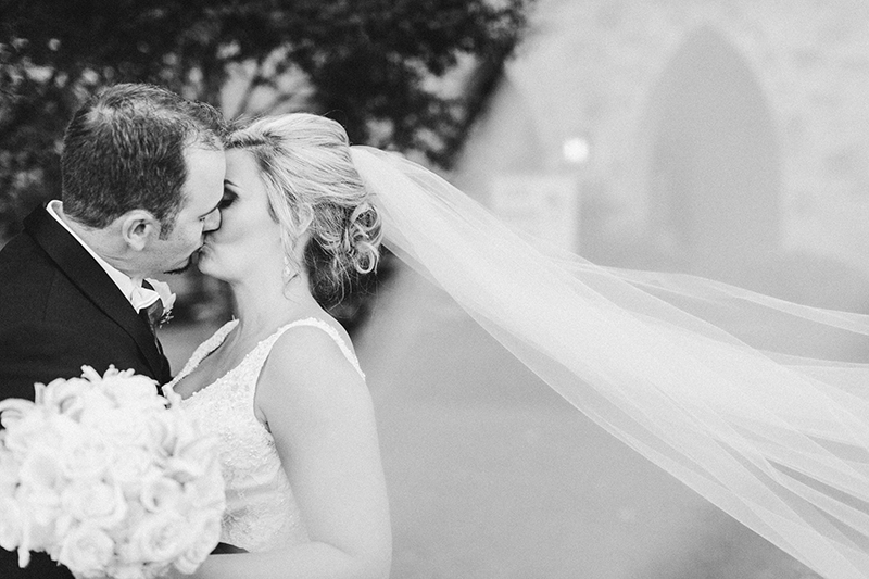 black and white portrait of Bride and Groom portrait at the Grace Episcopal Church