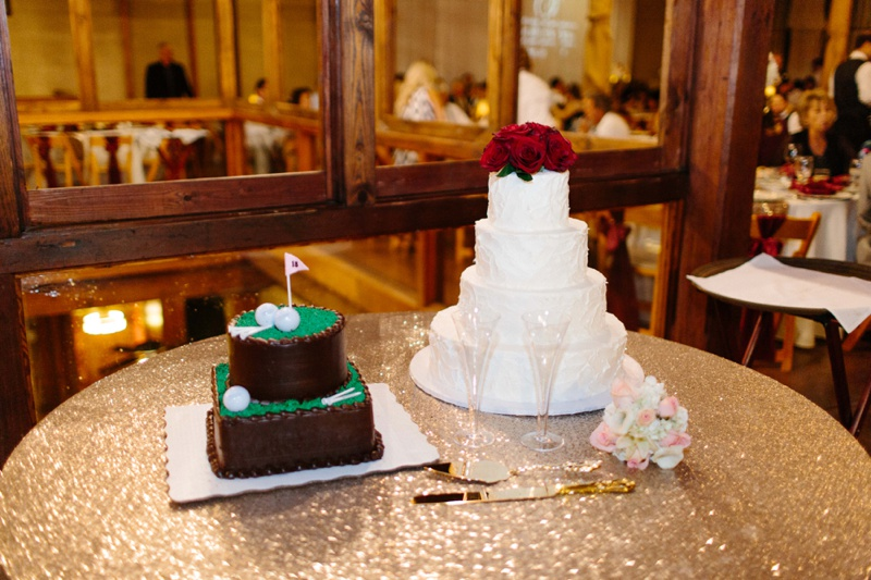 Beautiful wedding cakes displayed on sequin table cloth