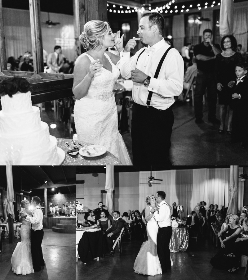 Black and white photos of a bride and groom cutting wedding cake