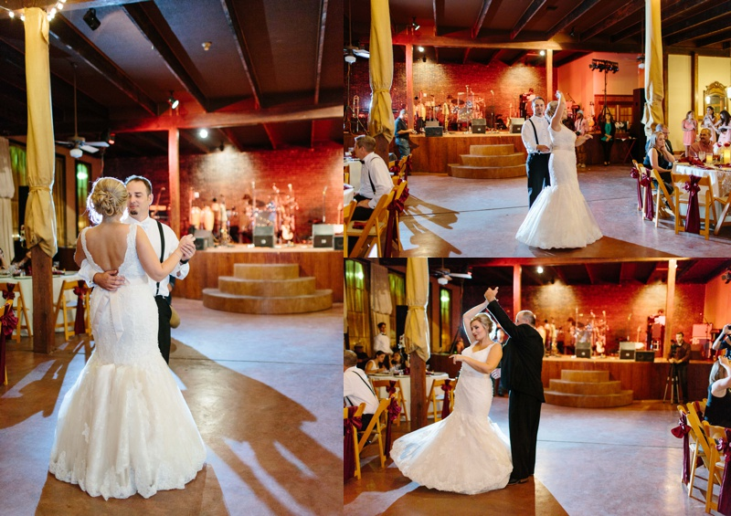 Bride and Groom dancing at a beautiful wedding reception at Trolley Station Wedding