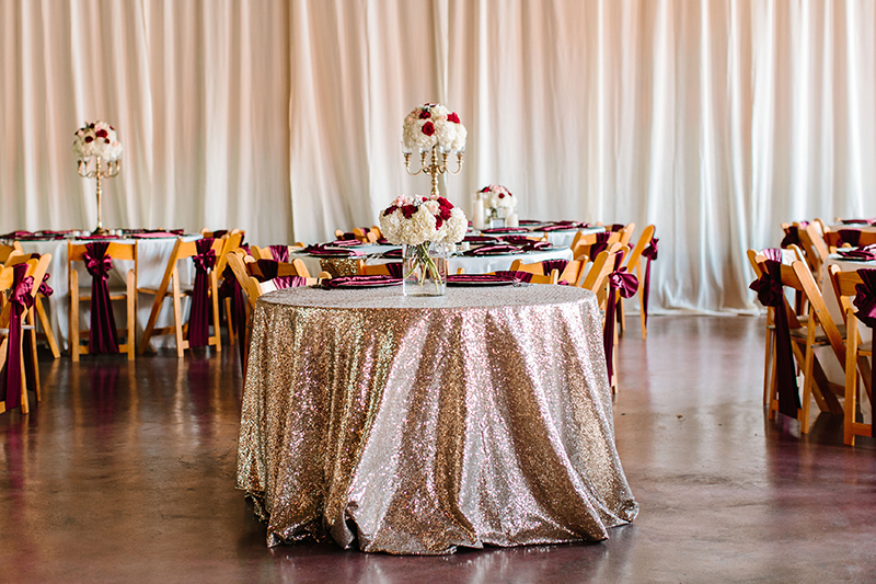 beautiful sequin table cloth for wedding reception at texas wedding