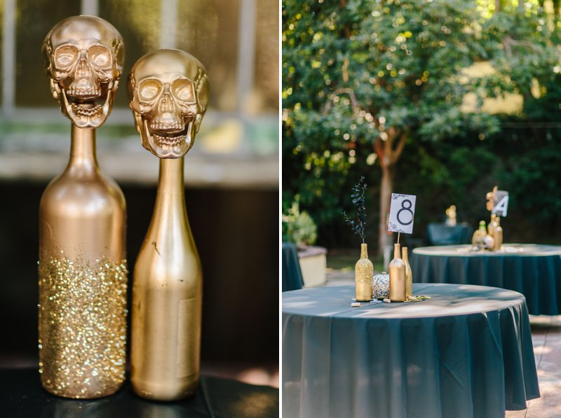 gold spray painted bottles for a wedding reception