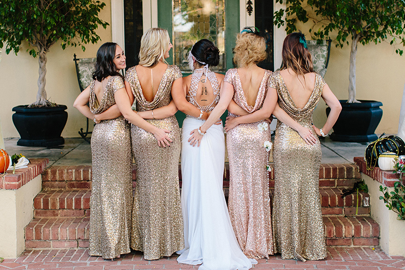 bridal party bridesmaids wearing gold sequin dresses
