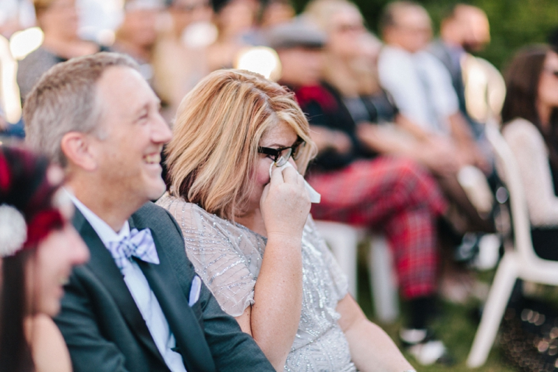 wedding guest crying during a ceremony