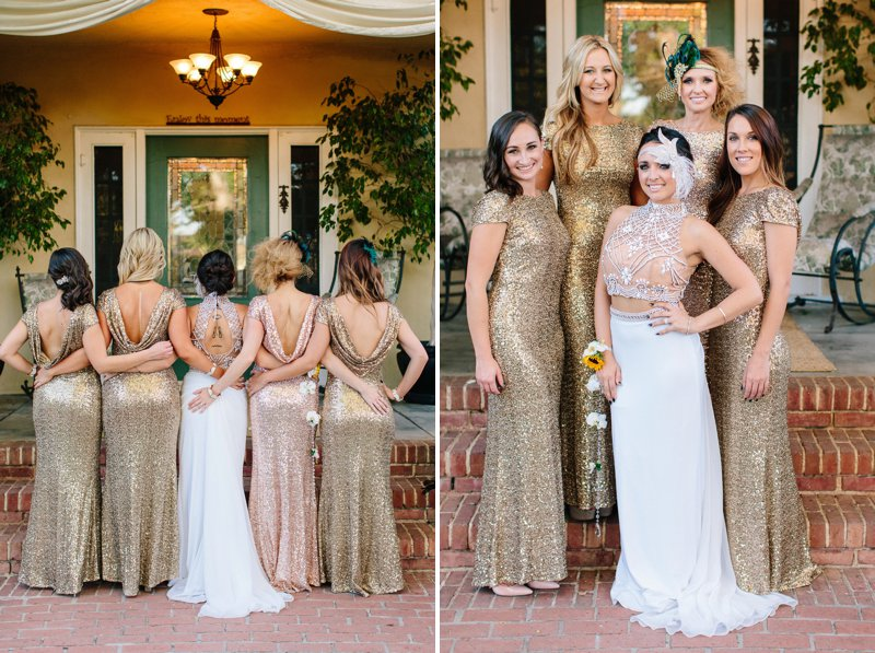 bridesmaids wearing gold sequin dresses