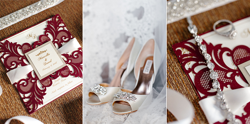Houston, Texas wedding details invitation and wedding jewelry