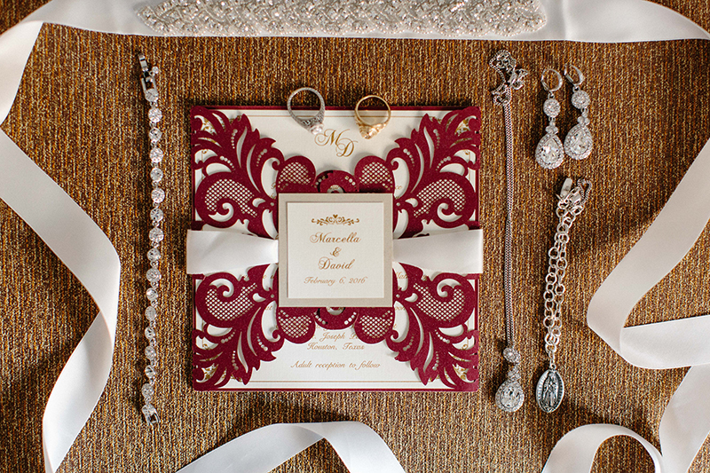 invitation suite for Crystal Ballroom at the Rice Hotel Wedding