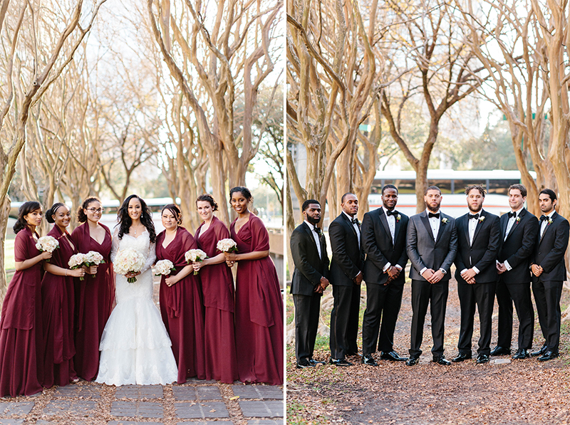beautiful Houston, Texas Fall wedding bridal party group portraits