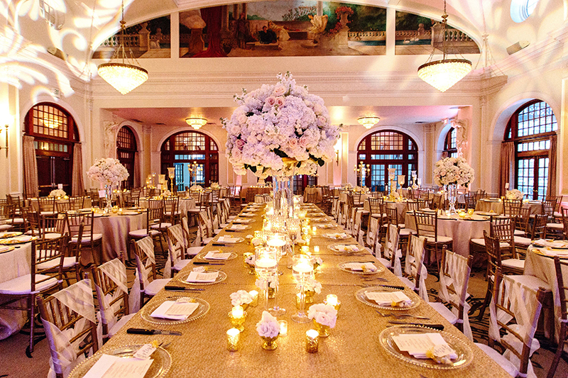 wedding reception at the Crystal Ballroom at the Rice Hotel in Houston, Texas